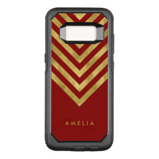 Name Elegant Red Geometric Chevron OtterBox Commuter Samsung Galaxy S8 Case