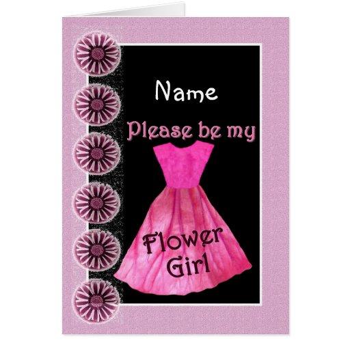 NAME Flower Girl Invitation PINK Dress Greeting Card