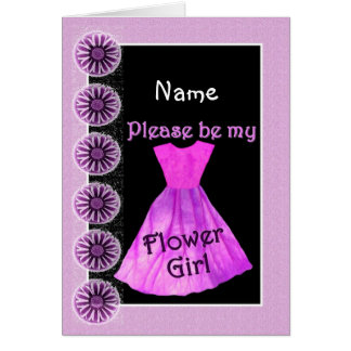 NAME Flower Girl Invitation PINK Dress Card