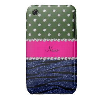 Name forest green diamonds zebra navy blue glitter iPhone 3 Case-Mate case