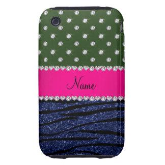 Name forest green diamonds zebra navy blue glitter iPhone 3 tough cover