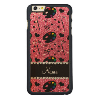 name fuchsia pink glitter painter palette brushes iPhone 6 plus case
