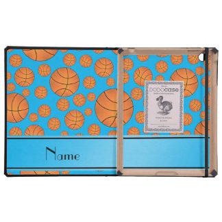 Name fun sky blue basketballs sky blue stripe cover for iPad