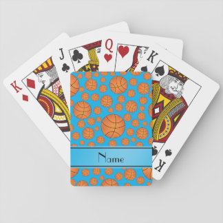 Name fun sky blue basketballs sky blue stripe playing cards