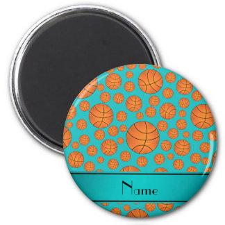 Name fun turquoise basketballs turquoise stripe fridge magnet