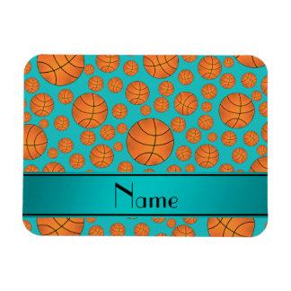 Name fun turquoise basketballs turquoise stripe flexible magnets