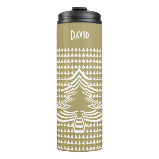 Name: Gold and White Christmas Tree Font Art Thermal Tumbler
