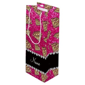 Name gold diamond neon hot pink glitter wine gift bag