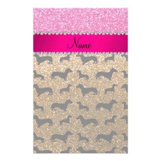 Name gold glitter dachshunds pink glitter customised stationery