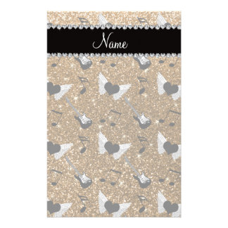 Name gold glitter guitars heart wings music notes customized stationery