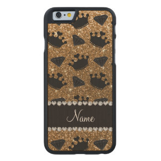 Name gold glitter princess crowns diamonds carved® maple iPhone 6 case