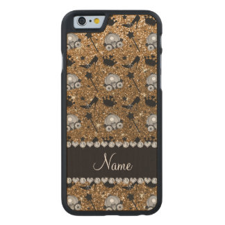 Name gold glitter princess crowns wand stars carved® maple iPhone 6 case