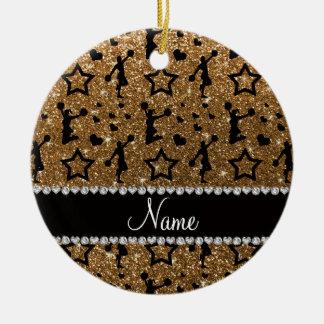Name gold glitter stars hearts cheerleading round ceramic decoration