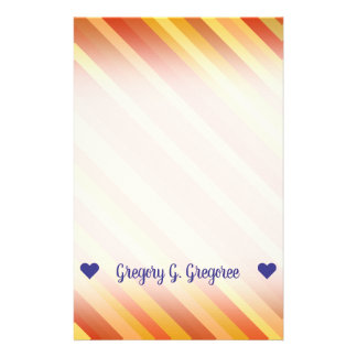 Name; Goldfish-Inspired Colored Stripes Pattern Stationery