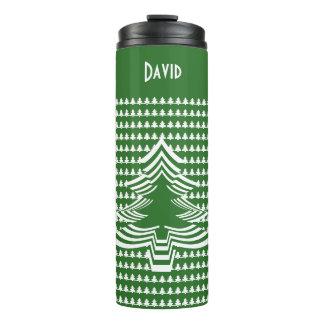 Name: Green and White Christmas Tree Font Art Thermal Tumbler