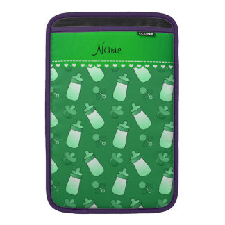Name green baby bottle rattle pacifier MacBook sleeves