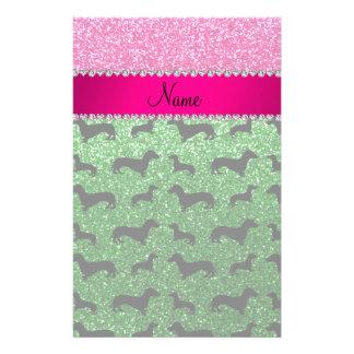 Name green glitter dachshunds pink glitter customized stationery