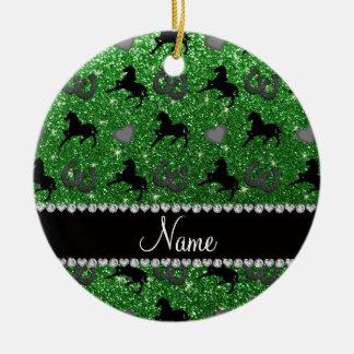 Name green glitter horses hearts horseshoe round ceramic decoration