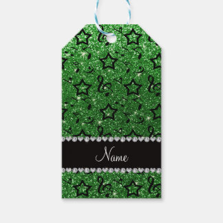 Name green glitter music notes stars gift tags