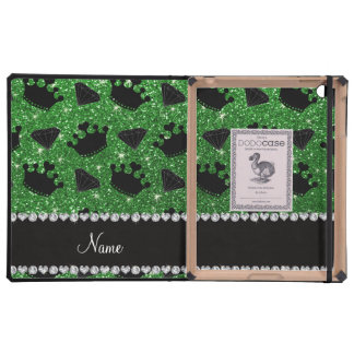 Name green glitter princess crowns diamonds iPad cases