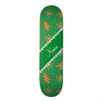 Name green gold christmas trees snowflakes custom skateboard