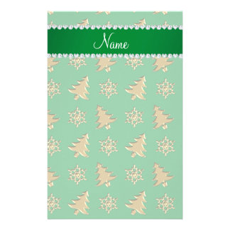 Name green gold christmas trees snowflakes stationery