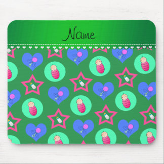 Name green hearts dots stars baby rattle bottle mouse pad