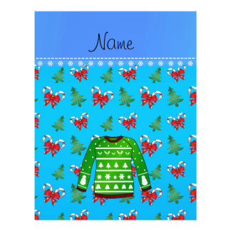 Name green ugly christmas sweater blue candy canes 21.5 cm x 28 cm flyer