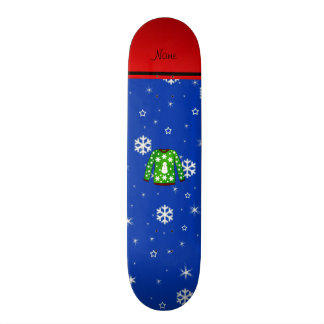 Name green ugly christmas sweater blue snowflakes 21.3 cm mini skateboard deck