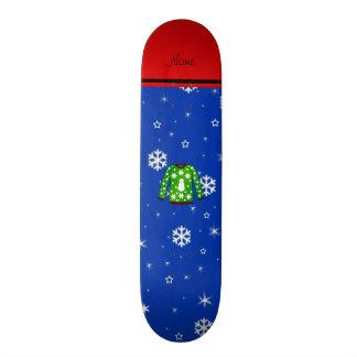 Name green ugly christmas sweater blue snowflakes 21.3 cm mini skateboard deck