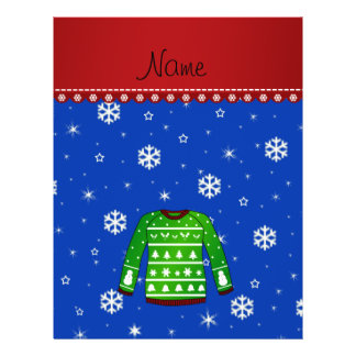 Name green ugly christmas sweater blue snowflakes 21.5 cm x 28 cm flyer