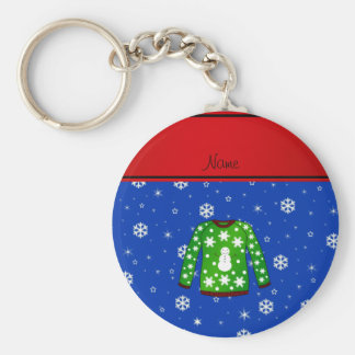 Name green ugly christmas sweater blue snowflakes keychain