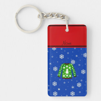 Name green ugly christmas sweater blue snowflakes key chain