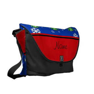 Name green ugly christmas sweater blue snowflakes courier bag