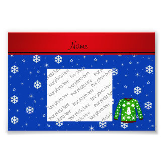 Name green ugly christmas sweater blue snowflakes photo
