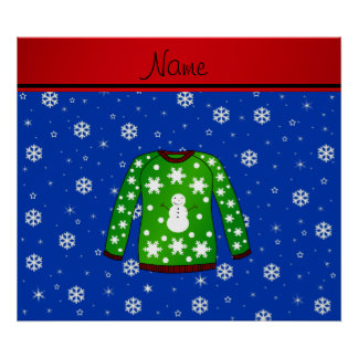 Name green ugly christmas sweater blue snowflakes print