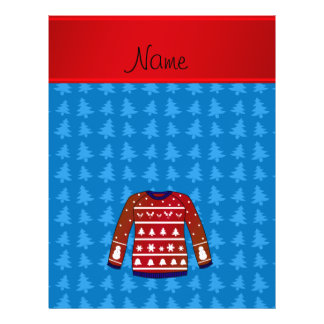 Name green ugly christmas sweater blue trees 21.5 cm x 28 cm flyer