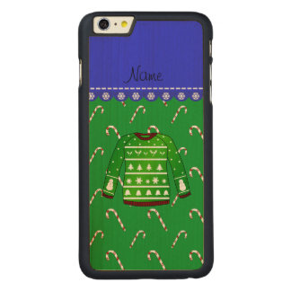 Name green ugly christmas sweater candy canes iPhone 6 plus case