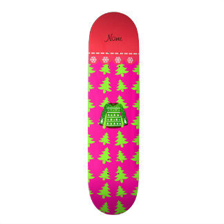 Name green ugly christmas sweater pink trees 21.6 cm skateboard deck