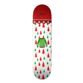 Name green ugly christmas sweater snowmen 21.3 cm mini skateboard deck