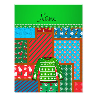 Name green ugly christmas sweater ugly pattern 21.5 cm x 28 cm flyer