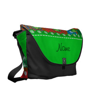 Name green ugly christmas sweater ugly pattern messenger bag