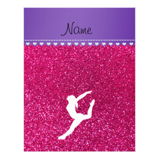 "Name gymnast neon not pink glitter 8.5"" x 11"" flyer"