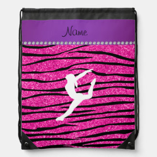 Name gymnast neon not pink glitter zebra stripes drawstring bag