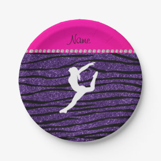 Name gymnast purple glitter zebra stripes 7 inch paper plate
