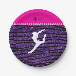Name gymnast purple glitter zebra stripes paper plate