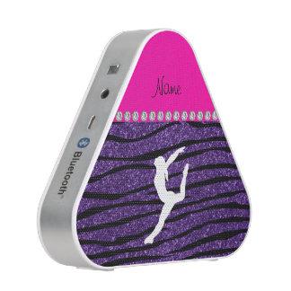 Name gymnast purple glitter zebra stripes speaker