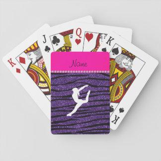 Name gymnast purple glitter zebra stripes playing cards