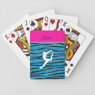 Name gymnast sky blue glitter zebra stripes playing cards