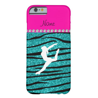 Name gymnast turquoise glitter zebra stripes barely there iPhone 6 case